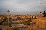 A view of Erbil from a road leading up the side of the Citadel.